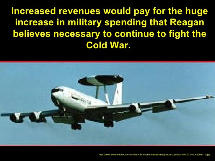 Increased revenues would pay for the huge increase in military spending that Reagan believes necessary to continue to figh...