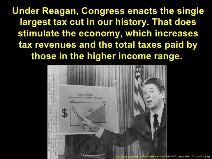 Under Reagan, Congress enacts the single largest tax cut in our history. That does stimulate the economy, which increases ...