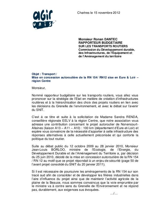 Chartres le 15 novembre 2012                                 Monsieur Ronan DANTEC                                 RAPPORT...