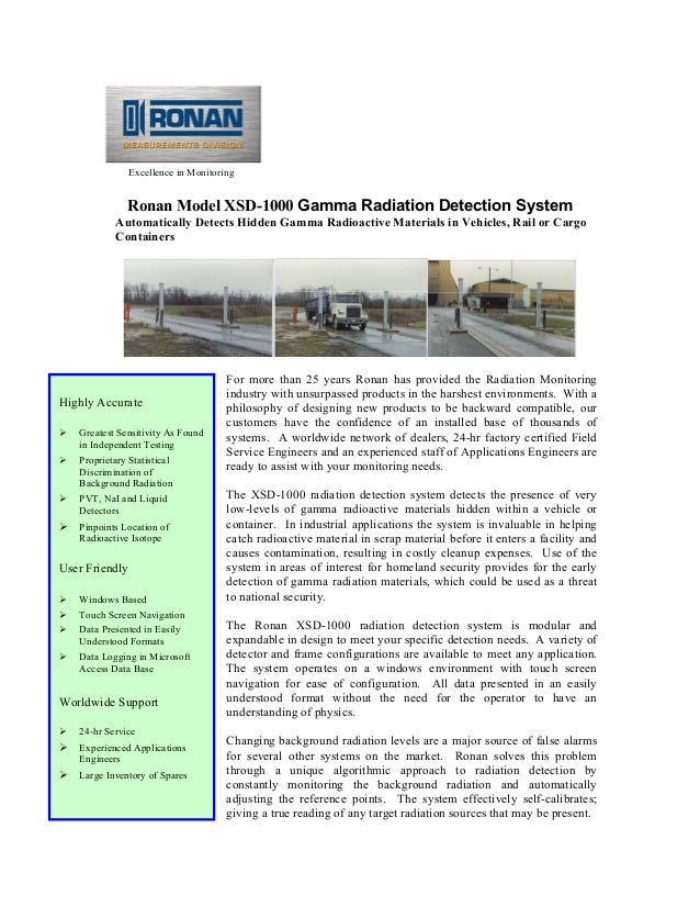 Excellence in Monitoring Ronan Model XSD-1000 Gamma Radiation Detection System Automatically Detects Hidden Gamma Radioact...