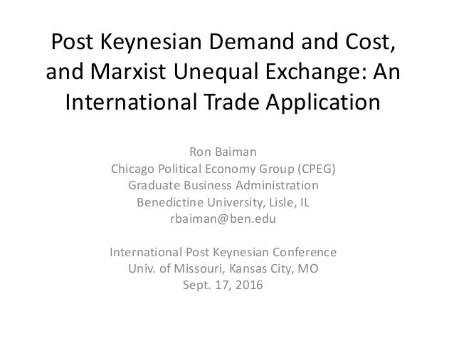 Post Keynesian Demand and Cost, and Marxist Unequal Exchange: An International Trade Application Ron Baiman Chicago Politi...
