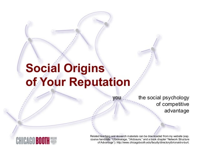 Social Origins of Your Reputation the social psychology of competitive advantage  Related teaching and research materials ...