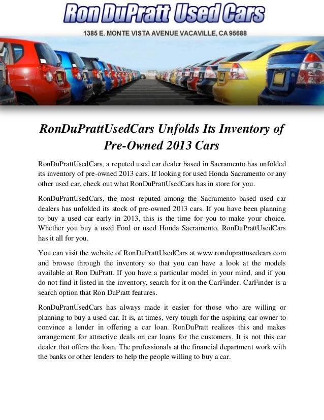 Ronduprattusedcars Unfolds Its Inventory Of Pre Owned 2013 Cars