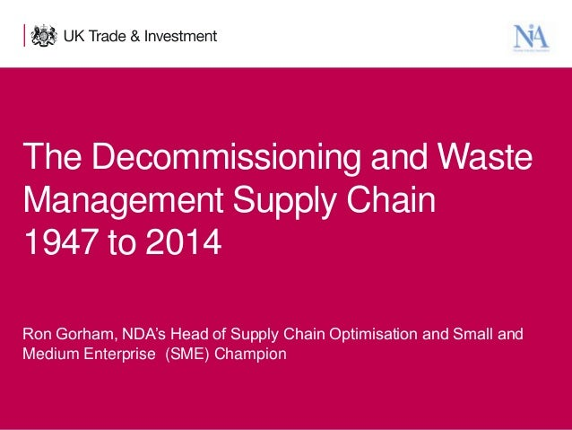 The Decommissioning and Waste Management Supply Chain 1947 to 2014 Ron Gorham, NDA's Head of Supply Chain Optimisation and...