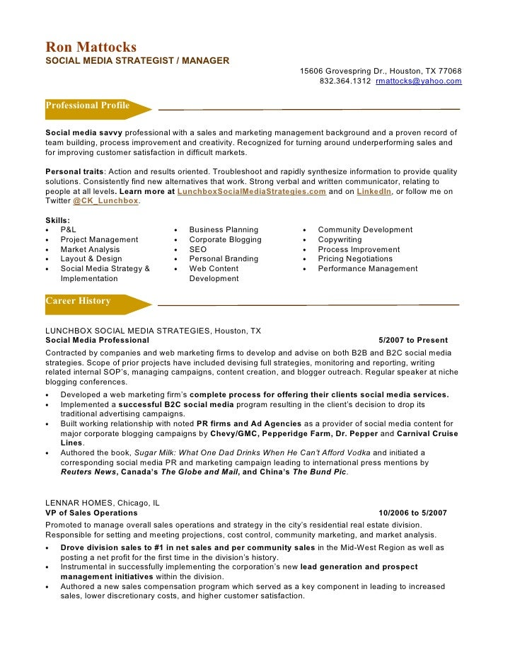 Social Media Marketing Resume. Ron MattocksSOCIAL MEDIA STRATEGIST /  MANAGER ...