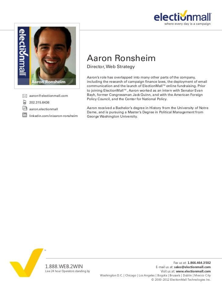 Aaron Ronsheim                                        Director, Web Strategy                                        Aaron'...