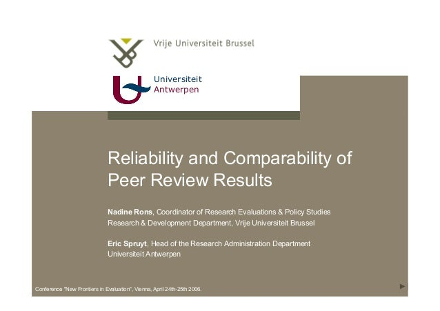"""Universiteit Antwerpen Conference """"New Frontiers in Evaluation"""", Vienna, April 24th-25th 2006. Reliability and Comparabili..."""