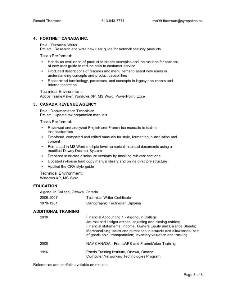 ron thomson resume june2011