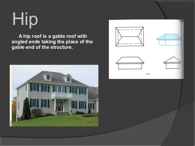 Hip A hip roof is a gable roof with angled ends taking the place of the gable end of the structure.