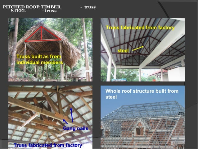 PITCHED ROOF:TIMBER - truss STEEL - truss Truss built as from individual members Truss fabricated from factory Truss fabri...