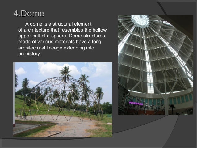 4.Dome4.Dome A dome is a structural element of architecture that resembles the hollow upper half of a sphere. Dome structu...