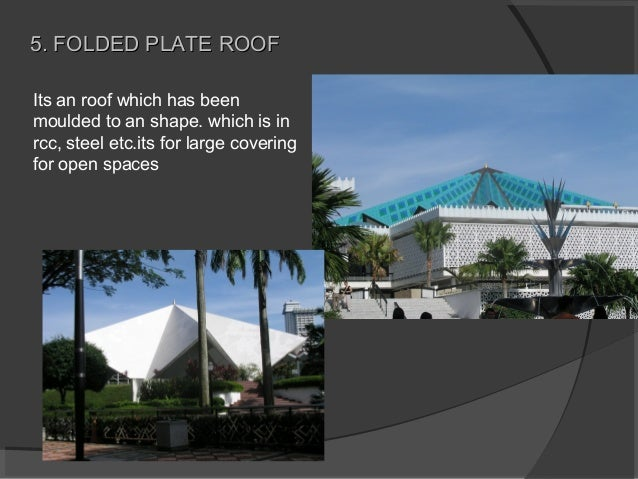 Its an roof which has been moulded to an shape. which is in rcc, steel etc.its for large covering for open spaces 5. FOLDE...