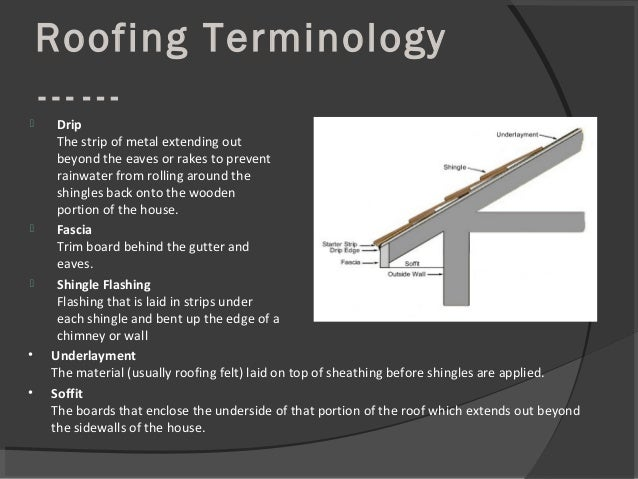 Roofing Terminology ……  Drip The strip of metal extending out beyond the eaves or rakes to prevent rainwater from rolling...