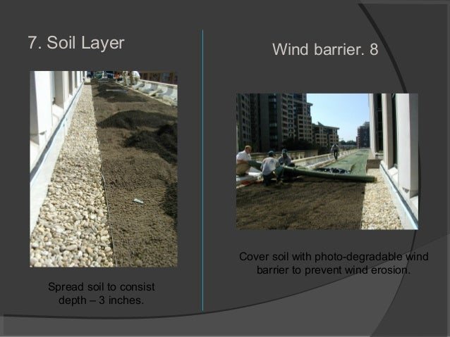 7. Soil Layer Spread soil to consist depth – 3 inches. 8.Wind barrier Cover soil with photo-degradable wind barrier to pre...