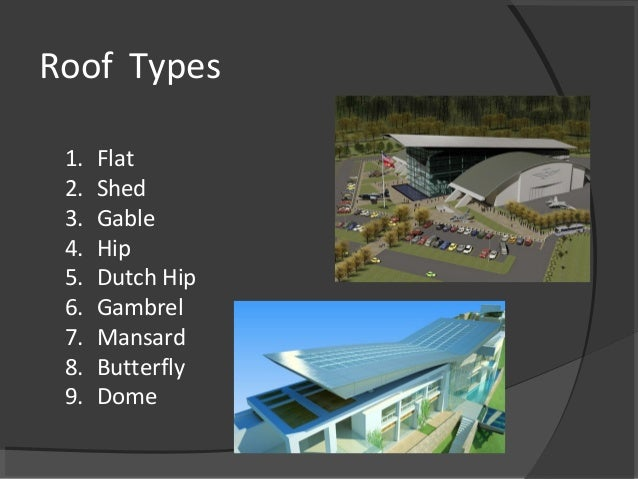 Roof Types 1. Flat 2. Shed 3. Gable 4. Hip 5. Dutch Hip 6. Gambrel 7. Mansard 8. Butterfly 9. Dome
