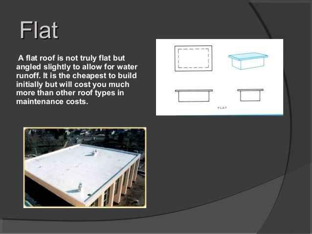 FlatFlat A flat roof is not truly flat but angled slightly to allow for water runoff. It is the cheapest to build initiall...