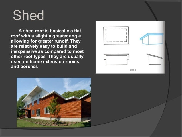 Shed A shed roof is basically a flat roof with a slightly greater angle allowing for greater runoff. They are relatively e...