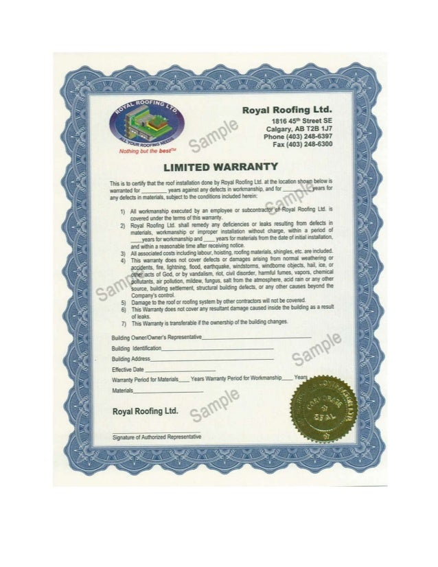 Roof warranty warranties 2 sc 1 st slideshare for Roofing warranty certificate template free