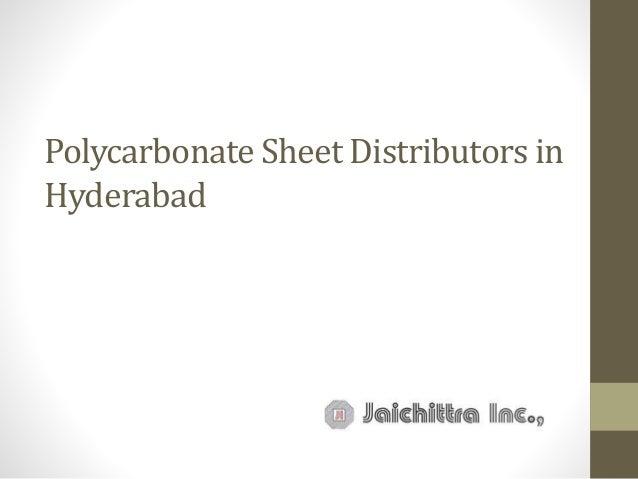 Polycarbonate Sheet Distributors in Hyderabad