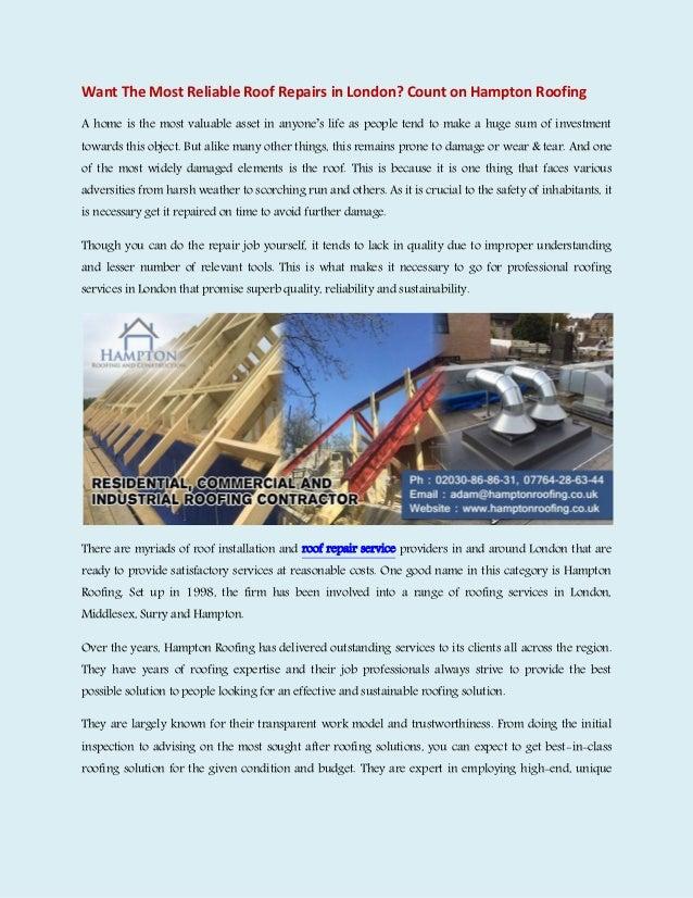 Roofing companies london