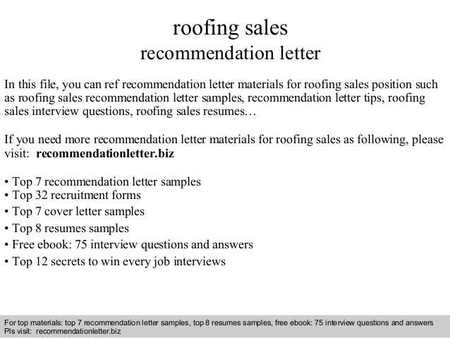 Roofing Sales Recommendation Letter