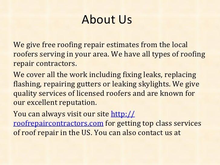 roof repair estimate. 14 roof repair estimate