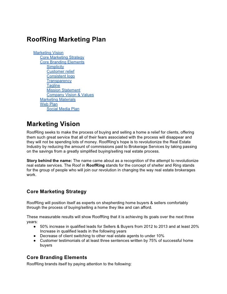 RoofRing Marketing Plan   Marketing Vision      Core Marketing Strategy      Core Branding Elements          Simplicity   ...