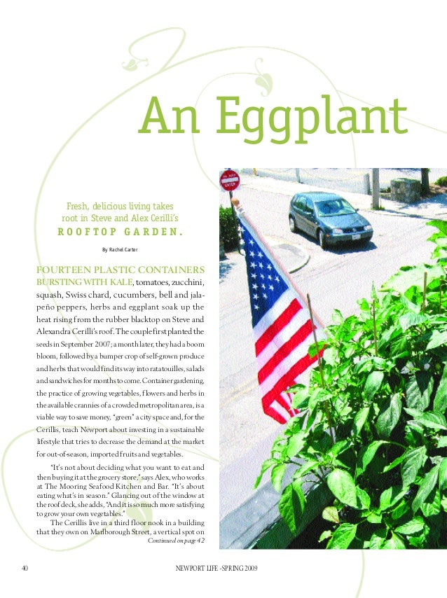 An Eggplant               Fresh, delicious living takes              root in Steve and Alex Cerilli's            rooftop g...