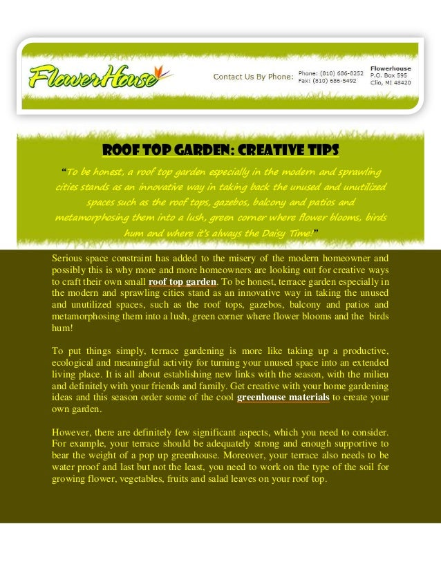 """Roof Top Garden: Creative Tips  """"To be honest, a roof top garden especially in the modern and sprawlingcities stands as an..."""