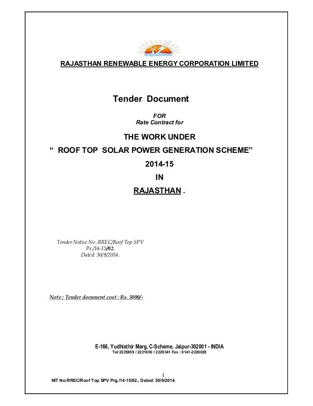 1 NIT No:RREC/Roof Top SPV Prg./14-15/02., Dated: 30/9/2014. RAJASTHAN RENEWABLE ENERGY CORPORATION LIMITED Tender Documen...
