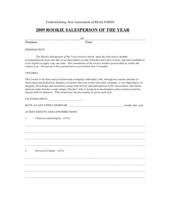 Fredericksburg Area Association of REALTORS®           2009 ROOKIE SALESPERSON OF THE YEAR _______________________________...