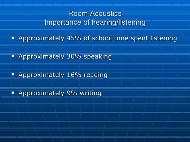 Room Acoustics Importance of hearing/listening <ul><li>Approximately 45% of school time spent listening </li></ul><ul><li>...