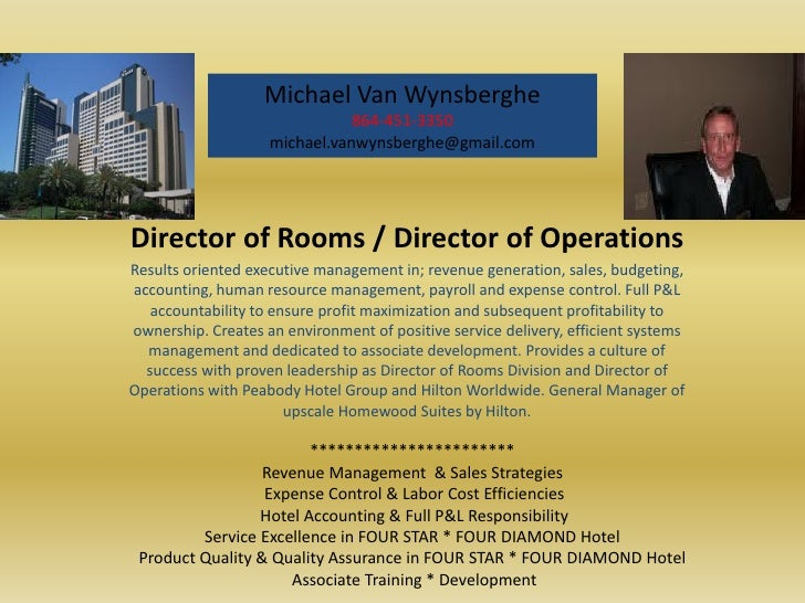 Rooms Director Operations Hotel  Visual Resume Michael Vanwynsberghe