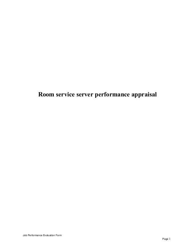 Room service server performance appraisal Job Performance Evaluation Form Page 1