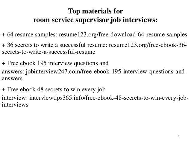Room Service Supervisor Resume Sample Pdf Ebook Free Download