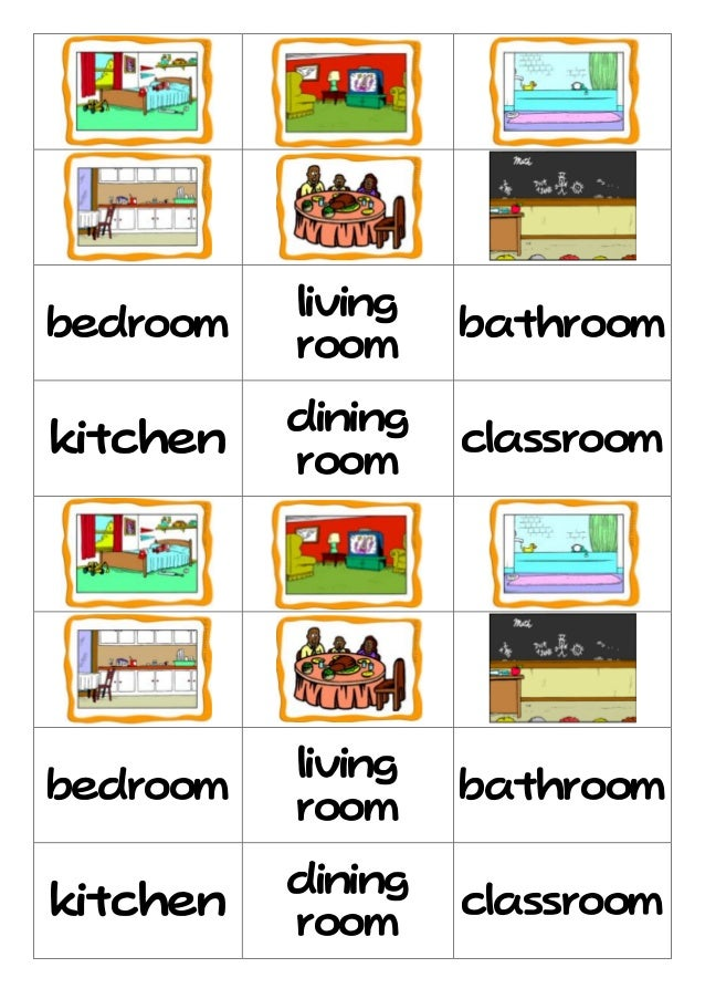 living room bedroom bathroom kitchen rooms flashcard 18975