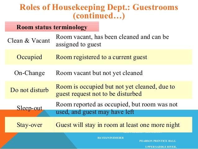 Hotel Room Status Terminology