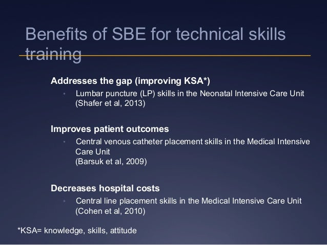Benefits of SBE for technical skills training Addresses the gap (improving KSA*) • Lumbar puncture (LP) skills in the Neo...