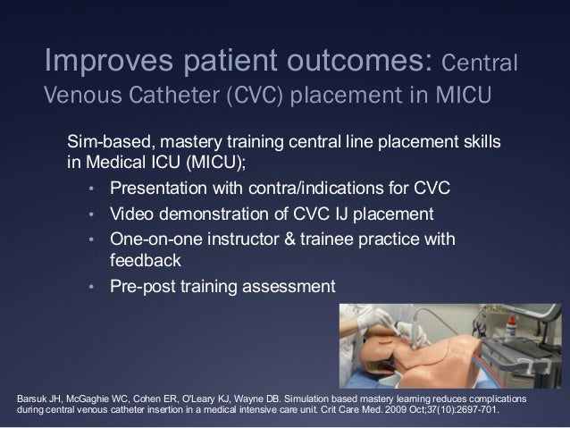 Improves patient outcomes: Central Venous Catheter (CVC) placement in MICU Sim-based, mastery training central line placem...