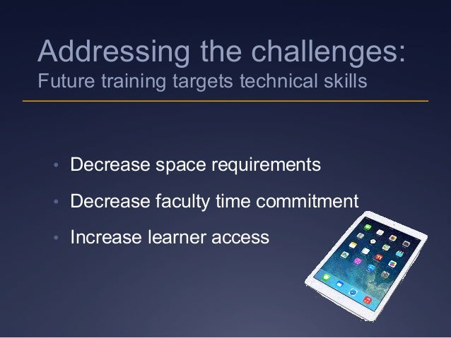 • Decrease space requirements • Decrease faculty time commitment • Increase learner access Addressing the challenges: F...