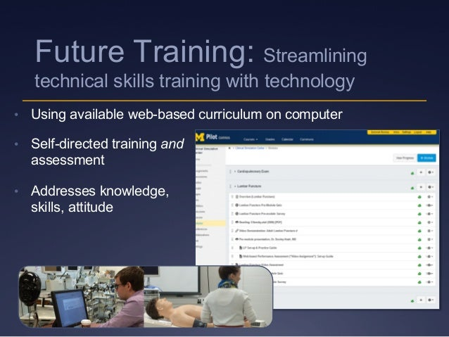 • Using available web-based curriculum on computer • Self-directed training and assessment • Addresses knowledge, skill...