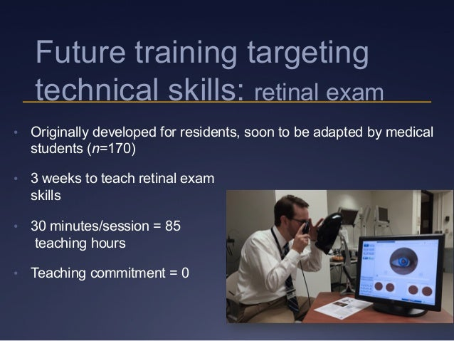 Future training targeting technical skills: retinal exam • Originally developed for residents, soon to be adapted by medi...