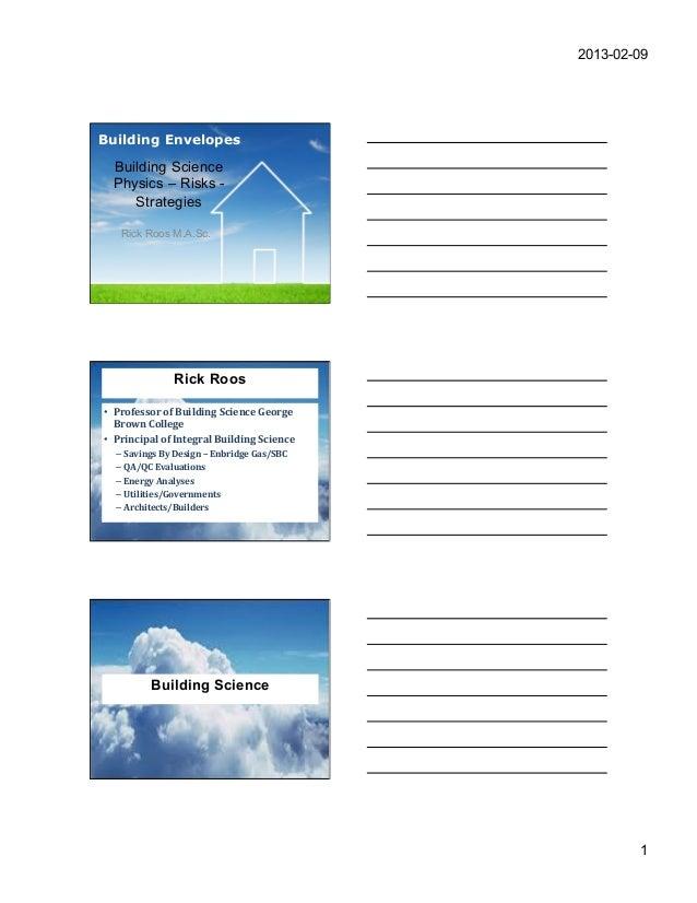 2013-02-09Building Envelopes       Building Science       Physics – Risks -          Strategies        Rick Roos M.A.Sc.  ...