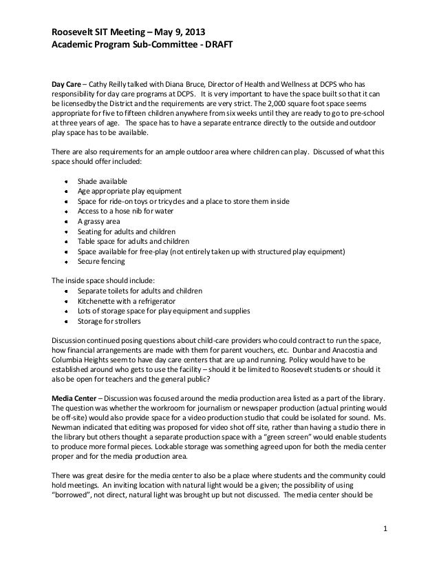 Roosevelt SIT Meeting – May 9, 2013Academic Program Sub-Committee - DRAFT1Day Care – Cathy Reilly talked with Diana Bruce,...