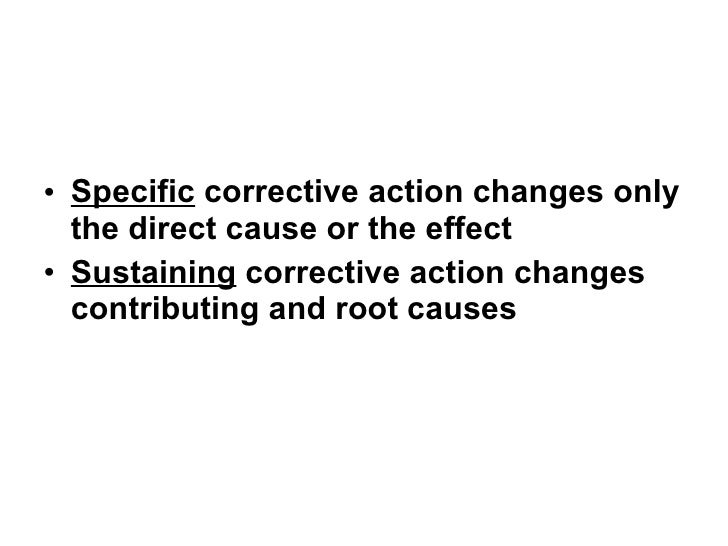 Root Cause Corrective Action