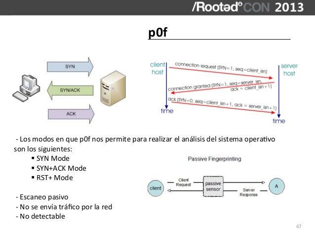 p0f -‐ Los modos en que p0f nos permite para realizar el análisis del sistema opera,vo so...