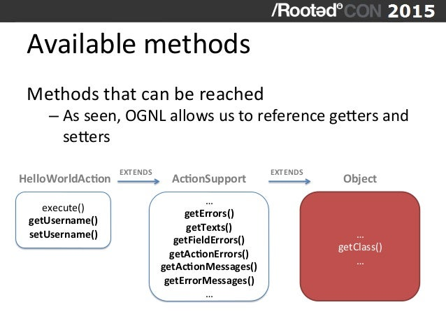 Available  methods   Methods  that  can  be  reached   –As  seen,  OGNL  allows  us  to  refere...
