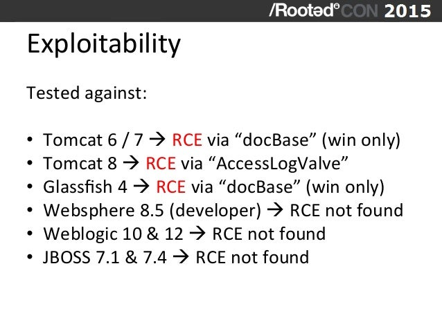 """Exploitability   Tested  against:      • Tomcat  6  /  7  à  RCE  via  """"docBase""""  (win  only)..."""