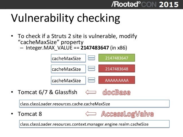 """Vulnerability  checking   • To  check  if  a  Struts  2  site  is  vulnerable,  modify   """"cacheMa..."""