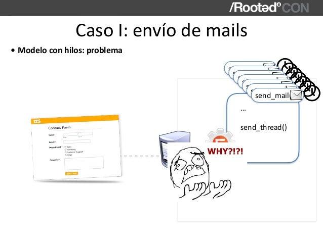 CasoI:envíodemails WebApp send_thread() … … • Modeloconhilos:problema send_mail(…) send_mail(…) send_mail(…) send_...